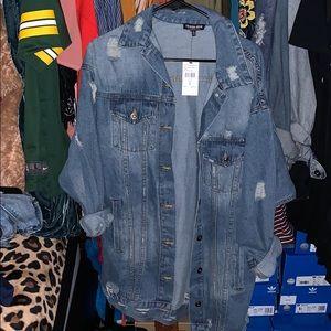 Distressed long-line denim jacket